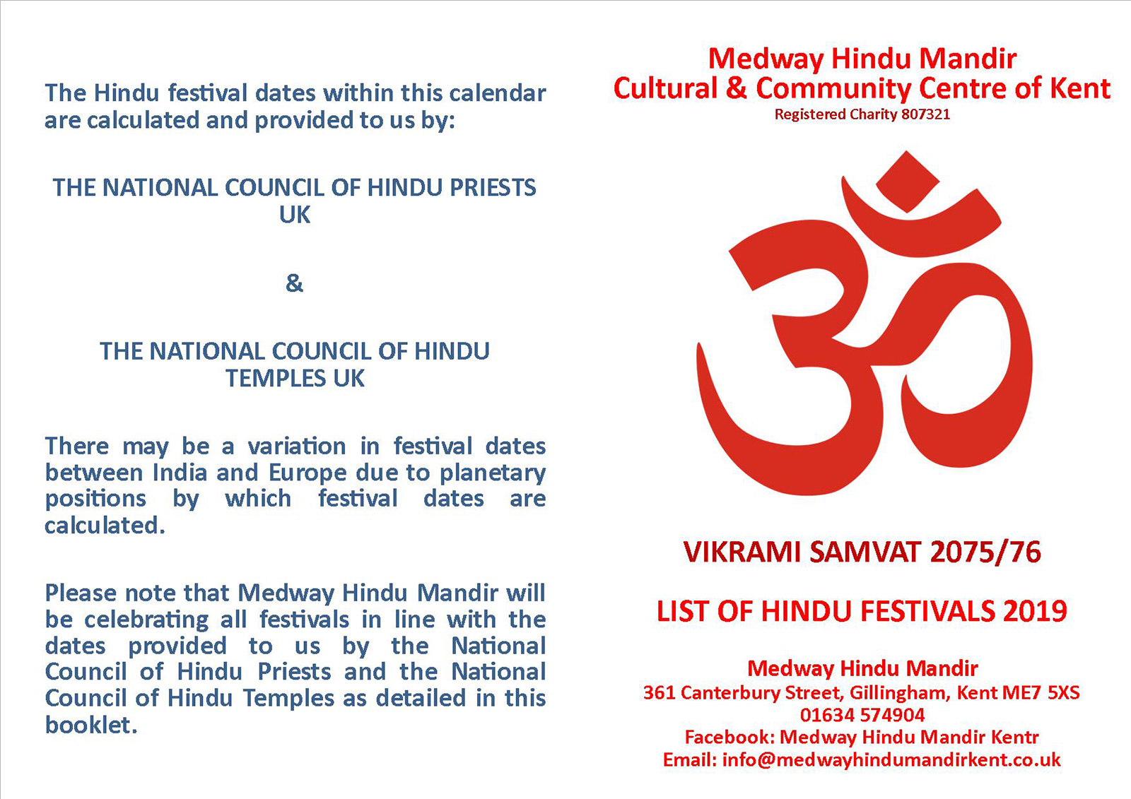 LIST OF HINDU FESTIVALS 2019 - Medway Hindu Mandir Cultural & Community Centre of Kent
