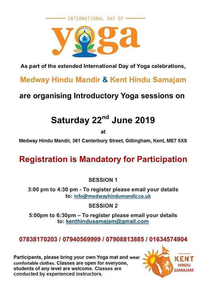 Yoga Day Celebrations Kent Hindu Samajam and Medway Hindu Mandir