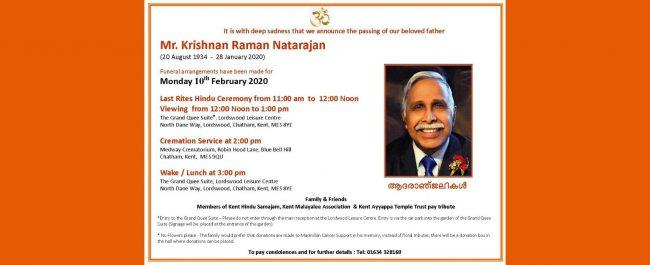 The funeral service and cremation of Mr Krishnan Raman Natarajan, Kent Hindu Samajam