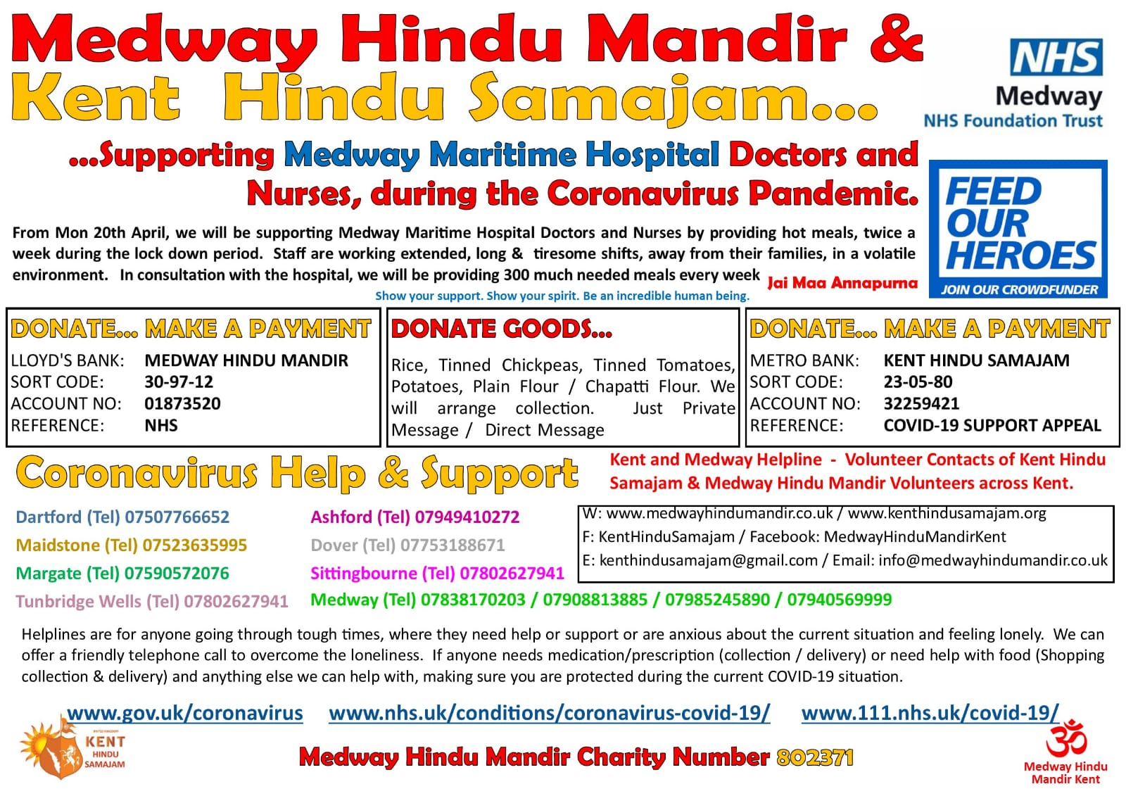 Medway Hindu Mandir & Kent Hindu Samajam are supporting Medway Maritime Hospital Doctors and Nursers